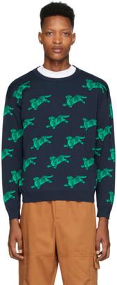 Kenzo Navy and Green Jumping Tiger Sweatshirt
