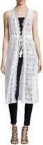 Neiman Marcus Long Lace Vest W/Tie Waist, White