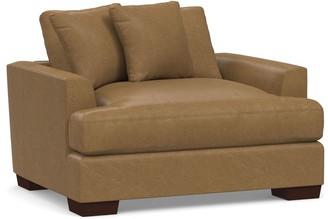 Pottery Barn Sullivan Fin Arm Deep Seat Leather Armchair