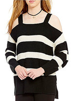 Sanctuary Amelie Striped Square Neck Cold-Shoulder Ribbed Sweater