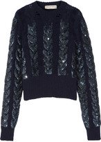 Emilio Pucci Distressed Sequin-Embellished Cable-Knit Wool Sweater