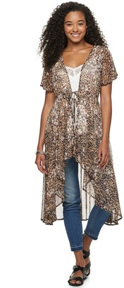 American Rag Juniors' Hi Low Floral Duster With Tie Front