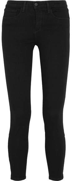 L'Agence Andrea Cropped High-rise Skinny Jeans - Black
