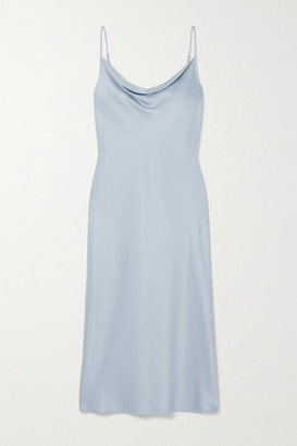 Max Mara Leisure Teoria Draped Washed-satin Midi Dress - Light blue