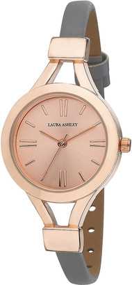 Laura Ashley Women's Watches - Gray & Rose Goldtone Thin Faux Leather-Strap Watch