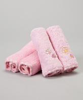 SpaSilk Pink Flower & Butterfly Terry Washcloth Set