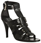 Pour la Victoire black leather 'Claire' studded t-strap sandals