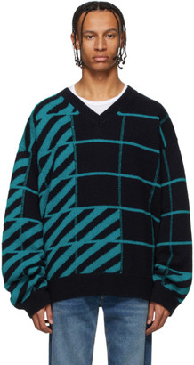 Off-White Navy and Blue Diag Panel Sweater