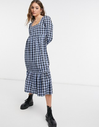 New Look square neck smock midi dress in blue check
