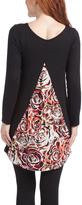 Glam Burgundy & Black Floral Back-Panel Maternity Tunic
