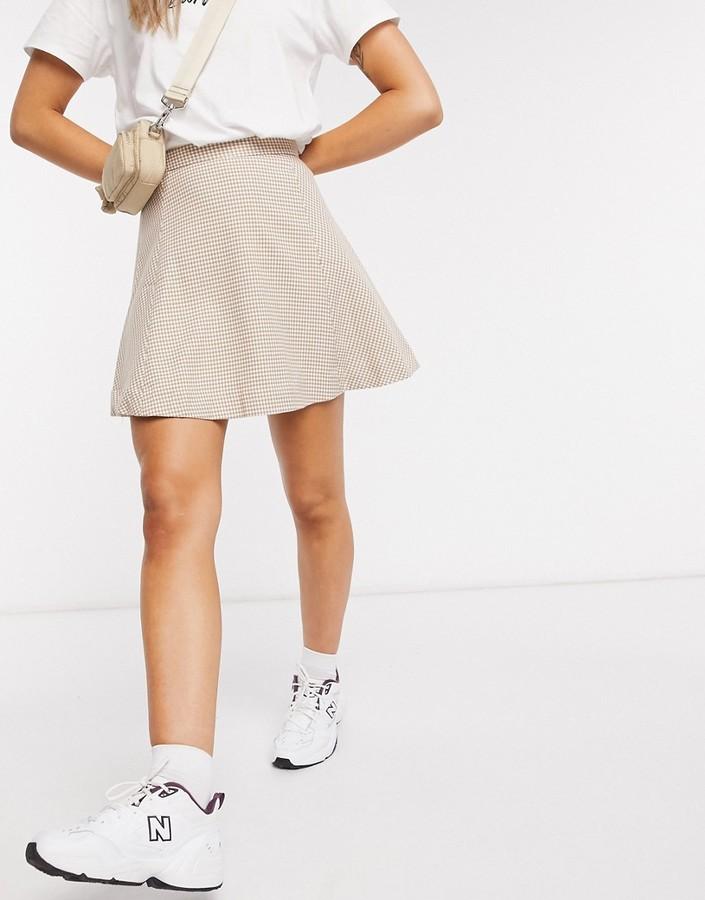 Monki Ulla check print mini skirt in beige