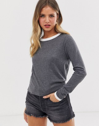 Brave Soul eloise long sleeve t shirt with contrast rib-Grey