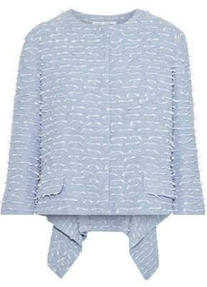 Oscar de la Renta Asymmetric Fil Coupe Cotton-blend Boucle Jacket