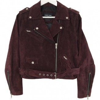 Obey Burgundy Suede Jacket for Women