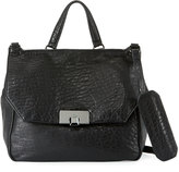Kooba Gable Pebbled Leather Satchel Bag, Black