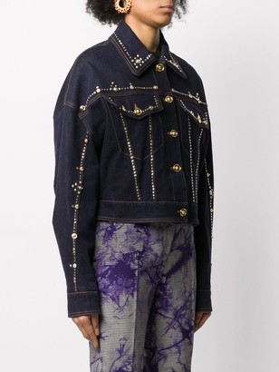 Versace Studded Cropped Denim Jacket