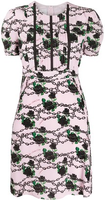 Valentino roses and chains printed dress