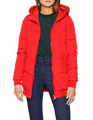 Only Women's Onlaida Long Hooded Coat Cc OTW Red Goji Berry, 12 (Size: Medium)
