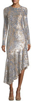 Michael Kors Leaf Paillettes Long-Sleeve Midi Dress