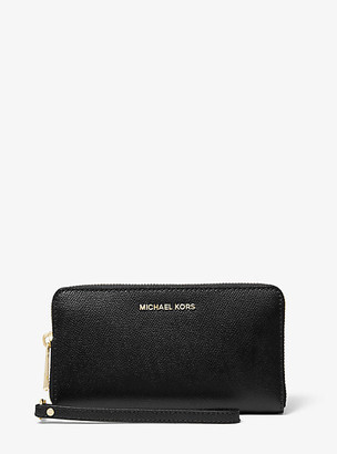 MICHAEL Michael Kors MK Large Crossgrain Leather Smartphone Wristlet - Black - Michael Kors