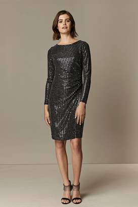 Wallis **TALL Silver Sequin Ruched Side Dress