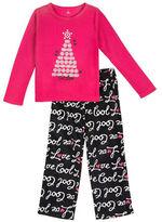 Petit Lem Holiday Two-Piece Christmas Tree Printed Roundneck Tee & Pajama Pants Set