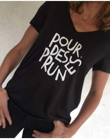 Plum Black V Neck T Shirt - black | polyester | m - Black/Black