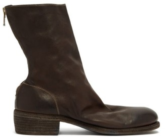 Guidi Buffalo Grained-leather Boots - Dark Brown