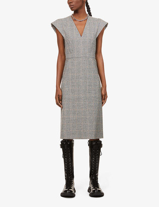 Alexander McQueen Capped-sleeve stretch-wool midi dress