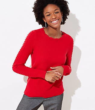 LOFT Petite Scalloped Cable Sleeve Sweater