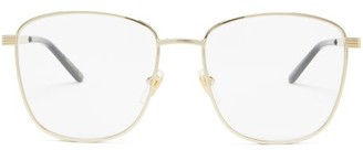 Gucci Logo-engraved Square Metal Glasses - Gold