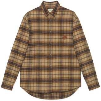 Gucci Check cotton shirt with InterlockingG