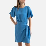 La Redoute Collections Tie-Waist Mini Dress with Ruffled Short Sleeves