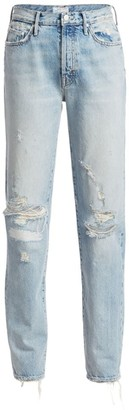 Mother The Trickster High-Rise Straight-Leg Distressed Jeans