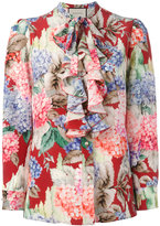Gucci Hydrangea print ruffled blouse