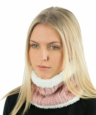 TOSKATOK Ladies Womens Winter Rib Seed Stitch Beanie Bobble Hat with Warm Cosy Fleece Liner & Large Faux Fur Pom Pom - Nude Scarf