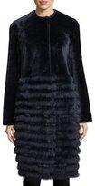 Tory Burch Electra Fur-Trim Shearling Coat