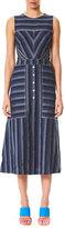 Carolina Herrera Sleeveless Mix-Stripe Midi Dress