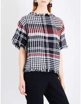 Oscar de la Renta Checked boxy-fit tweed top