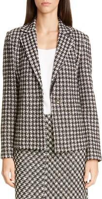 St. John Textured Boucle Houndstooth Knit Jacket