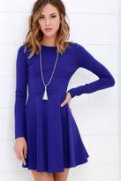 LuLu*s Forever Chic Royal Blue Long Sleeve Dress