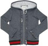 Gucci Web Hooded Zip-Up Cotton Sweatshirt