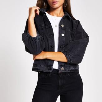 River Island Womens Black long sleeve cinched waist denim jacket