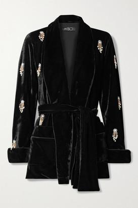 PatBO Belted Embellished Stretch-velvet Jacket - Black