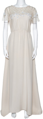 Valentino Beige Silk Floral Beaded Lace Yoke Gown L