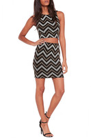 Missguided Metallic Zigzag Skirt