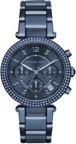 Michael Kors Women's Chronograph Parker Blue Ion-Plated Stainless Steel Bracelet Watch 39mm MK6418, A Macy's Exclusive