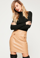 Missguided Nude Curved Hem Faux Leather Zip Pocket Mini Skirt