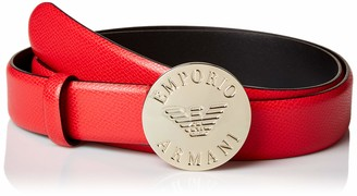 Emporio Armani Women's Leather Belt with Buckle Detail