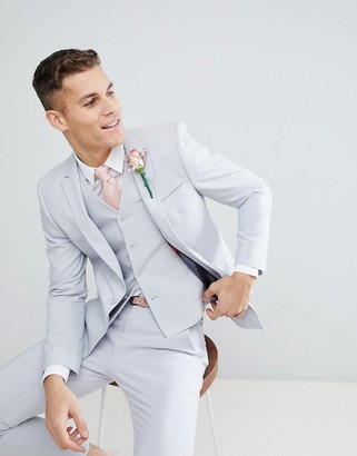 Asos DESIGN wedding skinny suit jacket with square hem in ice gray